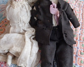 ANTIQUE China Head Dolls BRIDE And GROOM 8 Inches