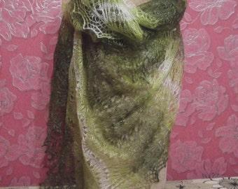 FREE SHIPPING!!! Green Rectangular Orenburg Hand Knitted Shawl Wrap