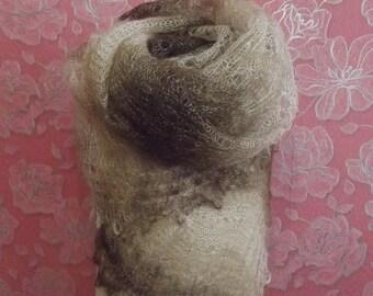 Deep Brown Rectangular Orenburg Shawl