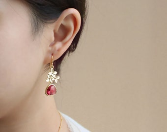 Cherry Blossom Earrings, Ruby Earrings, July Birthstone