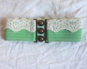 Mint green and cream lace belt