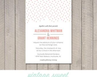 Modern Dots Wedding Invitation (Printable) DIY by Vintage Sweet