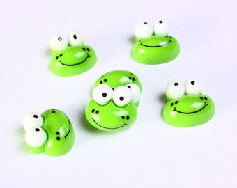 6 Green frog resin cabochon 12mm 6pcs (1150) - Flat rate shipping