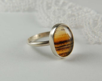 Montana Agate Ring Handmade Silver Ring Natural Stone Ring Artisan Ring Bezel Ring Montana Agate Jewelry