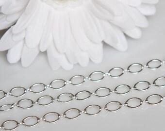 STORE CLOSING! ChS018 - 9 x 5mm Oval Silver Chain - 5 Feet