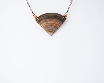 Geometric brown beige gold triangle necklace. Minimalistic necklace.  Fashion necklace
