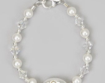 White Pearls with Clear Swarovki Crystals, Mini Silver Beads and Princess Bead Bracelet (BWPP)