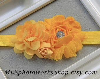Sunny Yellow Baby Girl Headband - Little Girl's Bright Yellow Flower Hair Bow - Yellow Headbands for Babies and Toddlers