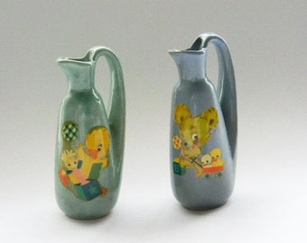 Vase Pitcher Meyercord Decals Baby Children Ceramic Pottery  Cottage Chic Shabby Retro Farmhouse Prop Set of 2 - Sweet Adorable 1940's-50's