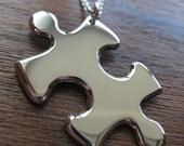 Puzzle Piece Silver Pendant Necklace