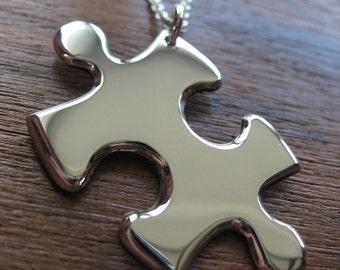 Silver Puzzle Pendant Handmade Necklace