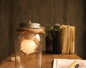 Mason Jar Lighting Glass Lamp Night Light or Desk Lamp - Minimalist Design