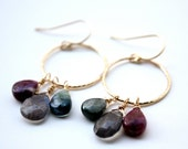 SALE: Labradorite and Rainbow Tourmaline Dangling Earrings, Gold Circle Design