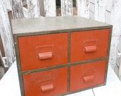 Industrial Card Catalog, SHABBY CHIC Metal File Cabinet in Red and Metal