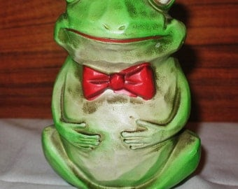 Green Frog Bank Blue Sparkle Eyes and Red Bowtie