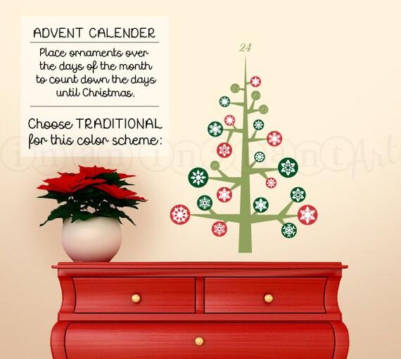 Advent Calendar Wall Decal, 24 Days of Christmas, Christmas Holiday Decor 050