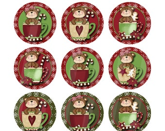 Printable One Inch Digital Collage Sheet Images of Christmas Bears in Cups