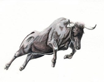 Bull 5x7 original watercolor painting. art & collectibles earthspalette