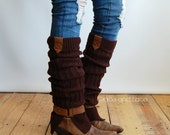 The Britain Buckle Leg warmer -Brown Ribbed legwarmer with tan tabs and buckle - boot socks (item no. 4-3)