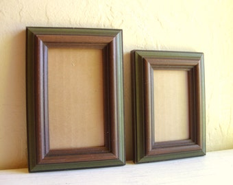 Matching Pair of Vintage Wood Picture Frames Brown and Olive Forest Green