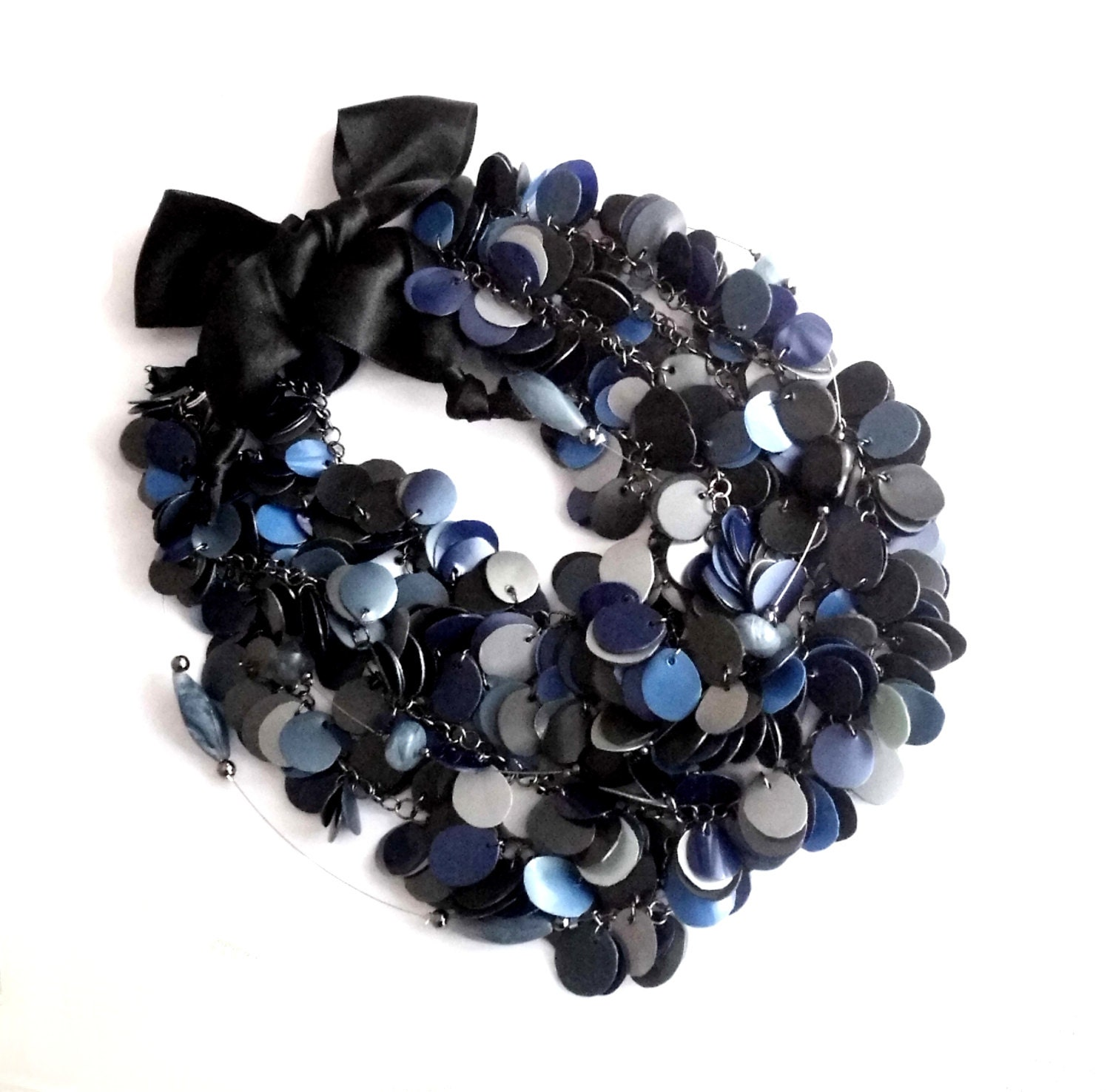 Statement necklace made of recycled plastic bottles dark blue for Jewelry made from plastic bottles