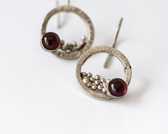 Artisan Silver and Garnet Earrings - Dangle earrings in sterling silver with dark red gemstones