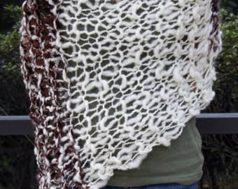 Hand Knit Bulky Shawl Poncho, in Natural Colors of Ivory and Brown mix, made of Super Soft Handspun Wool Yarn