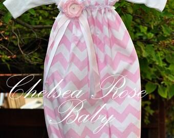 Baby Girl Light Pink Chevron Baby Dress, Baby Girl Dress, Riley Blake Chevron print, Designer, Baby Nightgown, Newborn Sleep Sack, Baby
