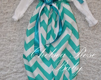 Baby Girl Teal Chevron Dress, Baby Girl Bodysuit Dress, Chevron, Designer Sleep Gown, Layette, Baby Nightgown, Newborn Sleep Sack, Baby Girl