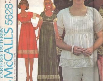 70s Empire Waist Dress or Blouse Pattern McCalls 5628 Size 8