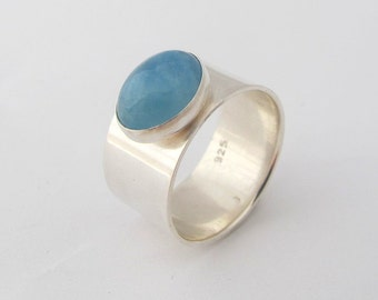 Aquamarine Ring, Sterling Silver Ring, Oval Aquamarine, Gemstone Ring, Wide Band, Made to order