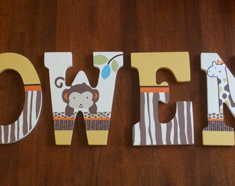 Custom Painted Nursery Letters, Coordinates with CoCaLo Azania Bedding