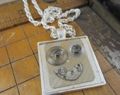 Steampunk Necklace made with Vintage Watch Parts and Faces Cast in Resin. #934