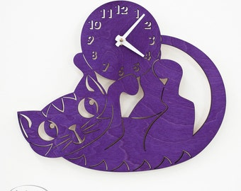 "The ""Playfully Purple Kitten"" a designer wall mounted clock from LeLuni"