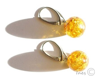 Baltic Amber Earrings, Round Amber Beads With Sparkles, Lemon Amber Dangle Earrings