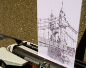 Why I Love Hammersmith Bridge in Under 100 Words (detail) Typewriter Art Greetings Card by Keira Rathbone