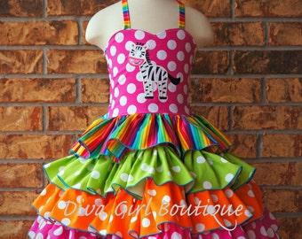 Boutique Girls Ruffle Dress Rainbow Zebra/Circus Dress Birthday Dress Pageant Dress Outfit of Choice 6m 12m 18m 24m 2T 3T 4T 5 6 7/8