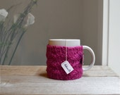 Coffee Cozy, Hand Knit Cozy, Wool Coffee Sleeve, Cup Cozy, Reusable Coffee Mug Sleeve, Gift Under 15, Bright Pink, Magenta, Stocking Stuffer