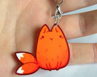 acrylic fox kitsune charm, 2 tailed 1.5 inch