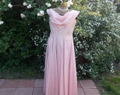 Vintage 1950's Pink Cire Taffeta Gown New Look Party Dress Cowl Off-Shoulder Dior style Neckline Couture Detailing Very Princess Grace