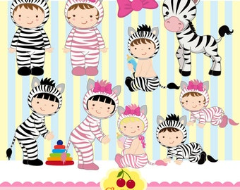 Zebra Costume Babies Digital Clipart set-Zebra numbers clipart-Personal and Commercial Use-paper crafts,card making,scrapbooking,web design