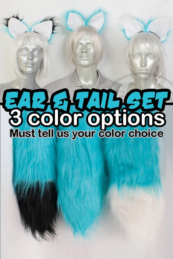 Teal Light Blue Furry Fox Tail and Ears, Cosplay, Accessories, Costume, Highly Customizable