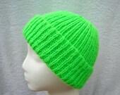 Kids Knit Hat, Neon Green, Girl Boy, Beanie Cap, Wool Blend, Safety Visibility