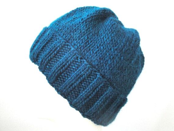 Mens Beanie Hat Hand Knit Llama Wool Watch Cap