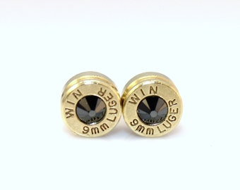 Bullet Casing Earrings. Black Onyx . Swarovski Crystal  9mm Luger
