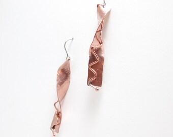 Peach Copper Earrings - Twist Earring - Copper Dangles - Fun Earrings - Rustic Earrings - Boho Style - Bohemian Style - Fashion Jewelry