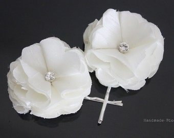 Ivory Hair Clip, Bridal Flower Hair Clips, Flower Hair pin for Wedding, Set of 2 Hair Piece, Bridal hair accessories
