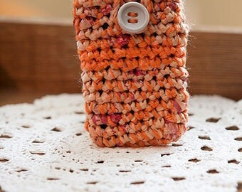 iPhone Cozy, Orange Phone Case, iPhone Case, Phone Sock, Eco-friendly Gift, Stocking Stuffer, Cellphone Sleeve, Smartphone Case, Phone Pouch