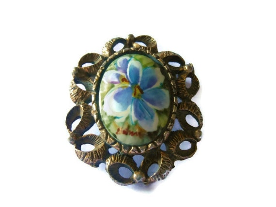 Hand painted pendant brooch signed by artist, floral interchangeable pendant brooch blue violet in copper setting cameo flower