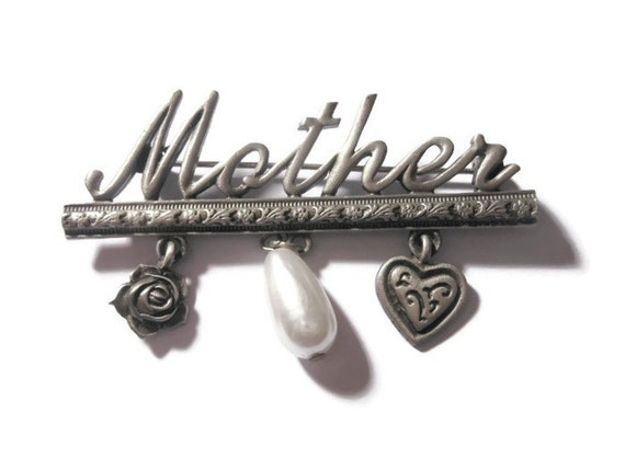 Mother brooch pin, rare Spoontiques JJ Jonette Jewelry signed Mother pin with heart, flower and faux pearl in pewter, eco-friendly
